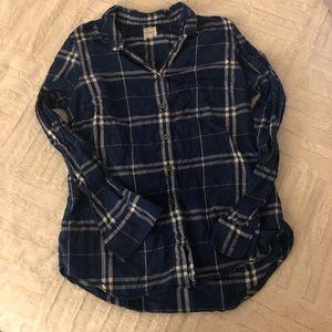 J. Crew indigo plaid button down flannel